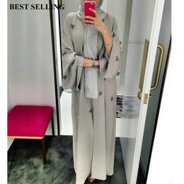 2020 kimono abierto cardigan Mujeres musulmanas bordado abierto cardigan vestido maxi katfan abaya dubai kimono servicio de oración ropa islámica túnica larga túnica árabe kimono abierto cardigan baratos