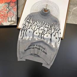 Männer-pullover jacquard online-2020 Europa ParisVillain Figuren Turtleneckstrickjacke Jacquard Pullover Männer Frauen-Qualitäts-Version Strickpullover Neue Herrenbekleidung