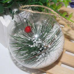 2019 palle di albero di plastica New Santa Clear Bauble Ornament Gift Palla trasparente per decorazioni natalizie Romantica palla di plastica per l'albero di Natale Home Decor DH0385 palle di albero di plastica economici