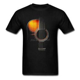 Cous de guitares acoustiques en Ligne-Nouveau Style Couleur Acoustique Guitare T-shirt Streetwear Chemise Pour Hommes O-cou Coton Grande Taille À Manches Courtes Drôle T-shirts