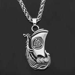 2019 regalos de vikingos Vikingo nórdico odin cuervo Huginn y Muninn valknut collar colgante nórdico de acero inoxidable con bolsa de regalo rebajas regalos de vikingos