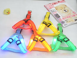 luci del collare per i cani Sconti Nylon Pet sicurezza LED Harness Dog Product Flashing Light Harness LED Dog Harness Leash Corda Cintura LED Collare per cani Vest Pet Supplies DLH121