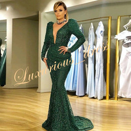 Canada Arabe Manches Longues Vert Émeraude Robes De Soirée Sirène Sexe Perles Col En V Plus La Taille Femmes Robe Habillée Robe Dubai Kaftan Robes De Bal Offre