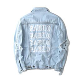 Chaqueta vaquera con estampado de kanye west online-Para hombre caliente de la venta Kanye West diseñador chaquetas PABLO dril de algodón de la chaqueta de lavado Vintage masculinos letra impresa chaquetas sueltas
