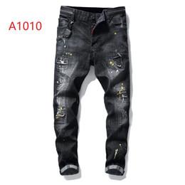 Calças de hip hop de zíper branco on-line-New Mens Hip Hop Rasgado Jeans 2019 Destroyed Buraco Jeans Skinny Motociclista branco listra costura Zipper Decorado Preto Luz Azul Denim Calças