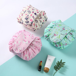 kit beauty Coupons - Women Travel Magic Pouch Drawstring Cosmetic Bag Organizer Lazy Flamingo Make up Cases Beauty Toiletry Kit Tools Wash Storage