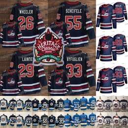 Blake wheeler jersey online-2019 Heritage Classic 29 Patrik Laine Jersey Jets Eishockey Trikots Mark Scheifele 26 Blake Wheeler Dustin Byfuglien 2019 Winnipeg Jets Trikots