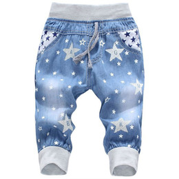 Nuevos jeans patrón chicos online-Nuevos Jeans para niños Cintura elástica Patrón de oso recto Pantalones de mezclilla Séptimo Pantalones de niño al por menor