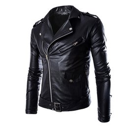 white biker jacket men Promo Codes - MoneRffi Fashion Men PU Leather Biker Jacket Autumn Motorcycle Overcoats Casaco Masculino Clothes Casual Zipper Coats wholesale