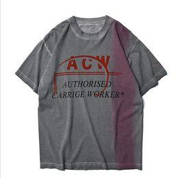 2019 chemises logos d'impression 2019ss ACW A-COLD-WALL RedBleu Logo Imprimé Femmes Hommes T-shirts t-shirts Hiphop Streetwear Hommes Coton ACW T-shirt Pour L'été chemises logos d'impression pas cher