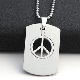 2019 fascino di simbolo di pace Collana in acciaio inossidabile Gioielli di moda Fascino Collana da uomo a catena lunga da uomo Collana anti-guerra Simbolo della pace Collane con pendenti fascino di simbolo di pace economici