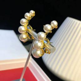 Orecchini d'oro a clip online-Nuove donne OL Orecchini placcato in oro giallo Clip di perle Orecchini per ragazze Donne per matrimonio di partito Bel regalo per amico di ragazza