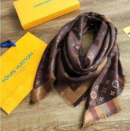 Kaschmir stirnbänder online-Designer-Kaschmir-Seidenschal Pashmina Brand brown Pattern Damen Herren Kaschmir-Seidenschals Wraps Stirnbänder 140x140c