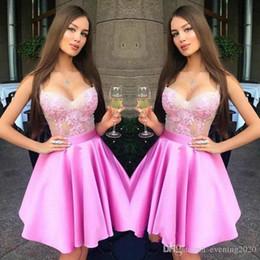 Graceful Pink Short Party Dresses Scoop A-Line Pizzo Appliques con telai Abiti occasioni speciali Abiti da sera sexy da