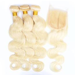 cheveux remy couleur blonde Promotion Kisshair 613 Blonde Bundles avec Fermeture Bleach Blonde Bundles De Tissage De Cheveux Humains Brésiliens Body Wave Vierge Remy Extensions de Cheveux