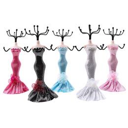 Vestire i manichini online-Creativo Mannequin Dress Design Jewlery Holders Orecchini Collana Bracciale Display Jewelry Show Stand Holder 5 colori