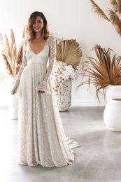 Vestido de noiva boêmio xl on-line-Sob $ 50, em estoque Lace Bohemian Vintage Wedding Dresses Vestidos Plus Size Mangas compridas Backless Mermaid Mermaid Bridal Vestidos Sexy Prom Dress 2019