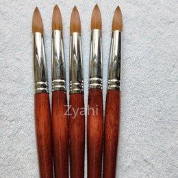 scharfe nägel Rabatt Große größe runde sharp 1 stücke 10 # 12 # 14 # 16 # 18 # 20 # 22 # 24 kolinsky sable pinsel acryl nail art pinsel rot holz kristall acryl salon