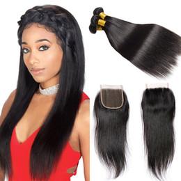 mejores tejidos negros Rebajas Pelo peruano de armadura recta 3 paquetes con cierre 7a Paquetes de cabello virgen no procesado Natural Black Best Weave Hair en venta