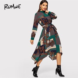 5185e8f9796 trapeze dresses Coupons - Asymmetric Hem Paisley Print Dress 2019 Spring  Autumn Long Sleeve Belted Long