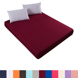 king single sheets Promo Codes - Solid color fitted sheet mattress cover with all-round elastic rubber band bed sheet for twin full queen king single double size