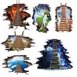 Gros autocollants en Ligne-6 design NOUVEAU Grand 3d Espace Cosmique Sticker Mural Galaxy Star Bridge Décoration de La Maison pour la Chambre Des Enfants Plancher Salon Stickers Muraux Décor À La Maison