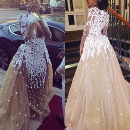 19751b036002 African Long Sleeves Mermaid Evening Dresses with Sheer Neck Lace Appliques  See-Through Prom Dress Black Girls Formal Party Gowns girls see through  shirts ...
