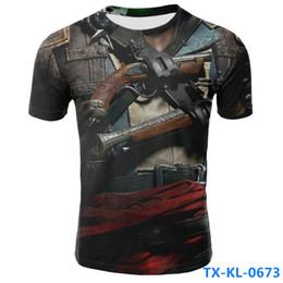 Camisetas de poliéster de calidad online-2019 explosión de verano chaqueta falsa 3D de los hombres camiseta casual de manga corta cuello redondo poliéster China camiseta de alta calidad