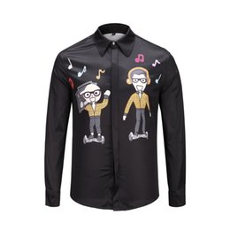 2019 Marca de design de luxo Outono Magro camisa dos homens Retro Retrato Abstrato impressão manga longa casual harajuku mens camisas de vestido Dos Homens Medus de