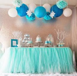 botín de mesa de bodas de oro Rebajas Boda Tulle Tutu Falda de mesa Colores por encargo Cumpleaños Postre Estación Falda Baby Showers Fiesta Decoración de mesa 100 * 80CM wn331C