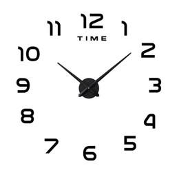 grande relógio de vida Desconto Relógios de parede Adesivo Super Grande DIY Acrílico Relógio de Parede Sala de estar Decoração Criativa Auto Colando Vendas Hot Preto Branco Prata 36mtC1
