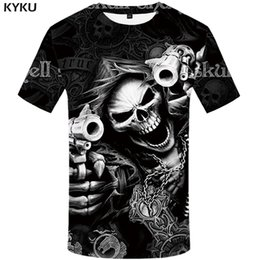 Vintage punk rock t shirts on-line-KYKU Crânio T shirt Homens Esqueleto T-shirt Do Punk Rock Tshirt Gun T camisas 3d Impressão T-shirt Do Vintage Gótico Mens Roupas topos de Verão