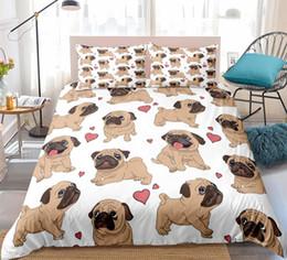Französische bettwäsche online-Französische Bulldogge Bettwäsche Set Cartoon Tiere Muster Bettbezug Set Kinder 3er Bett Ultraweiches Bett Heimtextilien