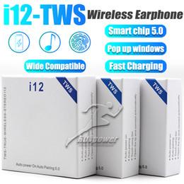 2019 boîte d'oreille couleur iphone Mini Bluetooth écouteurs I12 TWS avec chargeur Bouton boîte de commande sans fil Oreillettes Casque BT5.0 pour Smart Mobile avec forfait
