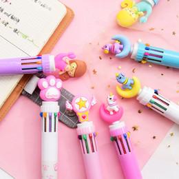 Multi Função 6 em 1 de papelaria bonito Pen Bola colorida Kawaii Unicorn Multicolor caneta esferográfica estrela do rosa Escritório Material Escolar de