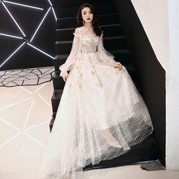 57889cad6314 2019 vestito tradizionale orientale Champagne Embroidery Chinese  Traditional Dress Qipao Bride Cheongsam Dress Vestidos Chinos Abiti