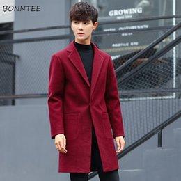abrigo de lana ajustado para hombre Rebajas Los hombres de lana sólido simple todas correspondan hombres adelgazan alta calidad cómodo para hombre de manga larga casual de moda nuevos Ulzzang Abrigo elegante