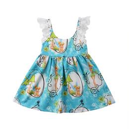 Vestidos de fiesta de la historieta del niño online-Princesa Toddler Kids Baby Girl Vestido de Verano de Dibujos Animados de Belleza de Impresión de Encaje Sin Mangas Formal Pageant Vestidos de Fiesta Ropa 1-6y