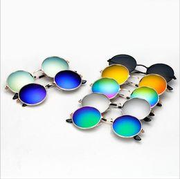 kinder runden brillen Rabatt Kindersonnenbrille Designer Frog Sunglass Round Reflective Brillen Mirror Fashion Retro Sonnenbrille Outdoor Classic Brillen Hot Eyewear 5774