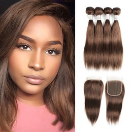 chocolate straight hair Promo Codes - #4 Chocolate Brown Cheap Human Hair Bundles With Closure 50g bundle Peruvian Straight Remy Human Hair extensions 4 Bundles with Lace Closure
