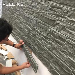 azulejos de baño de mosaico verde Rebajas Los paneles de pared 3D de pared de ladrillo de piedra Papeles sala de estar 3D para la habitación de los niños Dormitorio Decoración 3D impermeable auto adhesivo del papel pintado