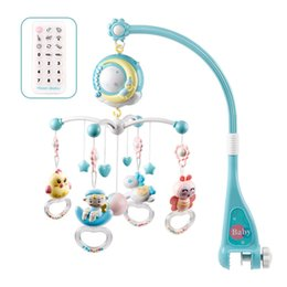 Bettwäsche-sets boxen online-0-18 Monate Spielen Educational Projection Timing-Krippe Bett Glocke Rotating Comfort-Spielzeug-Baby Rattle Stroller Music Box hängend