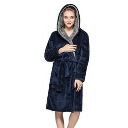 Argentina MUQGEW albornoz mujer robe femme vestido de noche Hombres Mujeres de Invierno de Felpa Chal Albornoz Alargar Espesar Inicio Ropa Robe Coat # G3 supplier night home dress Suministro