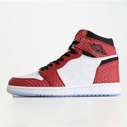 mens high lace up boots Promo Codes - 2019 Jumpman 1 High Spider Man Basketball Shoes 1S Chicago Crystal Gym Red Retro Photo Blue Mens Trainers Sports Baskets Sneakers 555088-602