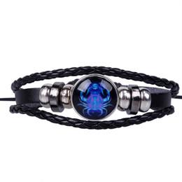 Свадебный браслет онлайн-Новые ювелирные изделия панк мужчины браслет для женщин браслет 12 Созвездие Знак Зодиака черный плетеный кожа Дева Весы
