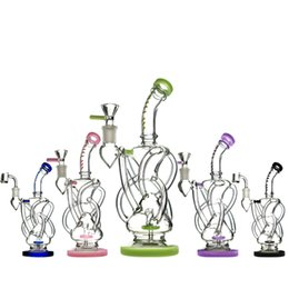 Bongo de vidro de vórtice Reciclador Plataforma de petróleo Cera Erva Tabaco Ciclone Tubo de água Heady Klein Bongs Dab Rigs Pipes Bowl Quartz Banger Percolators Bubbl cheap percolators oil rigs de Fornecedores de percoladores plataformas de petróleo