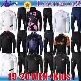 Kinder fußball anzüge online-Erwachsene Kinder 2019 2020 Real Madrid Trainingsanzug Fußball Trainingsanzug PSG Maillot De Foot 19 20 Paris Fußballjacke RONALDO Jogging-Trainingsanzug