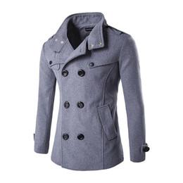 Cappotto uomo jaket online-Autunno e Inverno Pattern Uomo Both Row Buckle Zipper Stand Cappotto di lana piumato Cappotto allentato Casaco Masculino Sobretudo Jaket Uomo