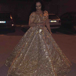 7ac7d6cbbbb 2019 Off the Shoulder Bling Prom Dress Gold Sequin Floor Length Lace Up  Bridal Dress Quinceanera Dresses Ball Gown Long Formal Evening Wear