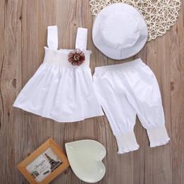 Chapéu bonito das crianças on-line-lindo vestido branco Menina Bebês Crianças Meninas Tops vestido + calça + Hat 3pcs Outfits partido Baby Girl Set Vestuário
